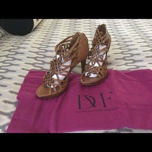 DVF woven leather platform stiletto sandals